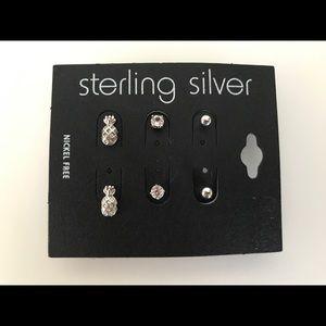 Jewelry - Set of 3 Sterling Silver Stud Earrings
